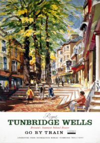 The Pantiles, Tunbridge Wells, Kent. Vintage  Souther Railways (SR) Travel poster by Charles Shepherd. c1950